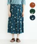 【nofl】リネン花柄タックスカート