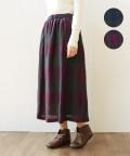 YARRA ブロックチェックウールスカート