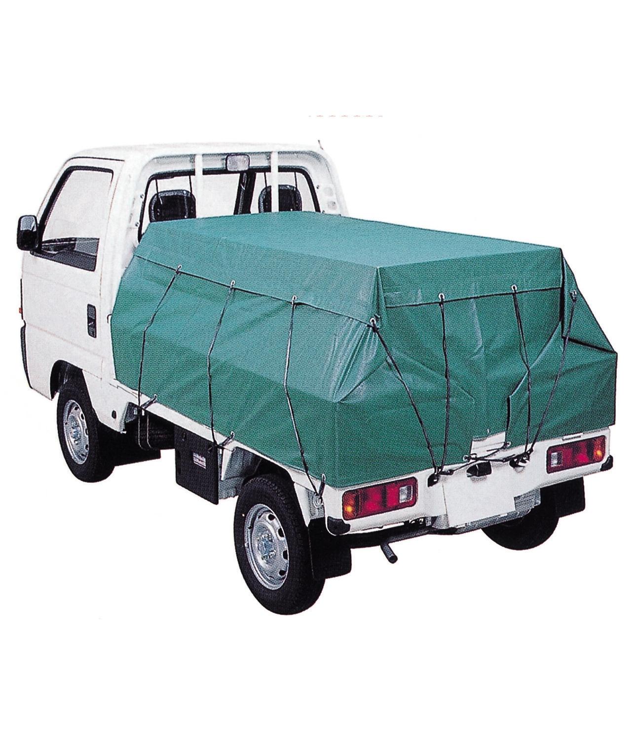 トラックシート3号(軽トラック用 グリーン) 送料無料!(2.5m×2.6m ゴムバンド20本付 20枚/セット)