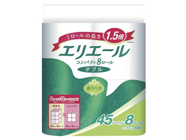 トイレットペーパー エリエール コンパクトダブル 香り付き ダブル45m 8ロールx8パック