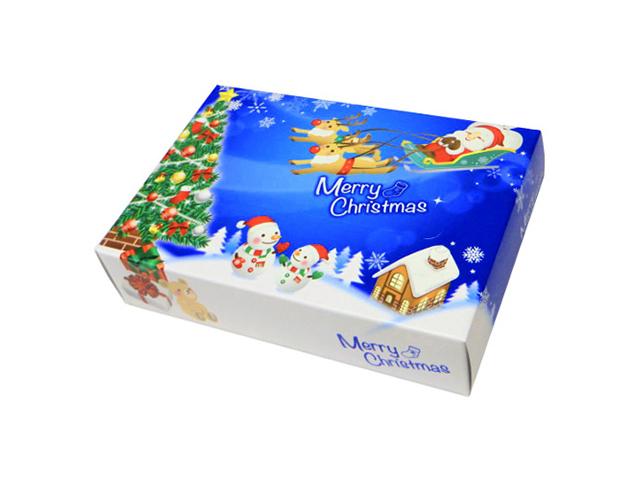【送料無料】 販促用 贈答用 粗品 景品 箱ティッシュ ポストカードクリスマスティッシュ 25W 100個