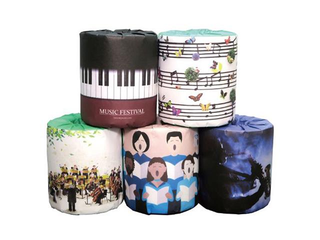 販促用トイレットペーパー 音楽 5種類アソート 個包装100個 ダブル30m