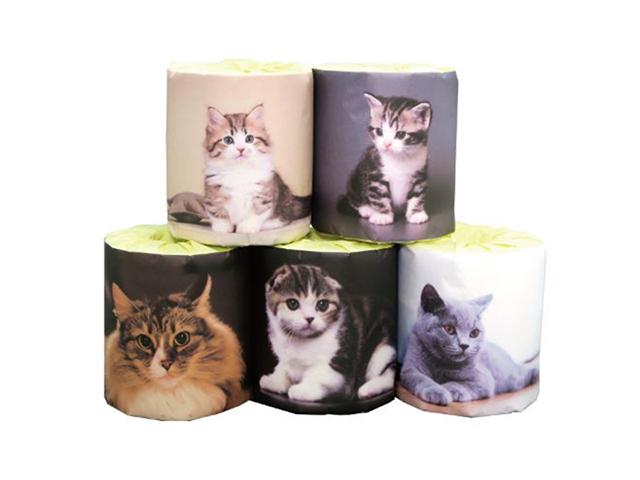販促用トイレットペーパー 仔猫 5種類アソート 個包装100個 ダブル30m