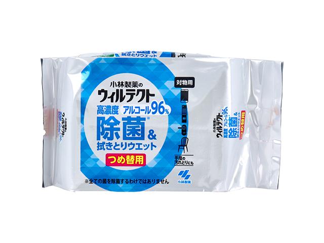 除菌ウエットシート ウィルテクト 高濃度アルコール96% 除菌&ふき取りウエット 詰替用50枚入りX6パック