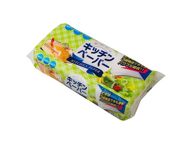 キッチンタオル 丸富製紙 無漂白キッチンペーパー 厚口3枚重ね 75組 24パック