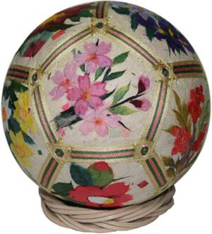 松江和紙手まり(12cm)十二面四季の花b