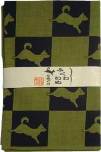 日本手ぬぐい福和犬(よもぎ)