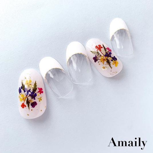 【Amaily】 ネイルシール No.1-22  押し花(カラー)