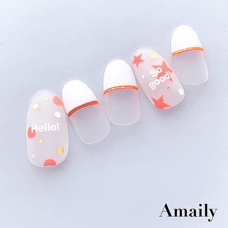【Amaily】 ネイルシール No.5-30 ドット(蛍光オレンジ)