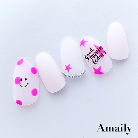 【Amaily】 ネイルシール No.5-31 ドット(蛍光ピンク)