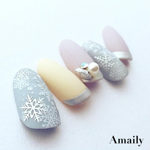 【Amaily】 ネイルシール No.3-22 雪の結晶 シルバー