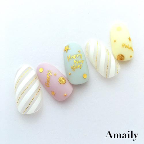 【Amaily】 ネイルシール No.9-5  WH2018 ゴールド