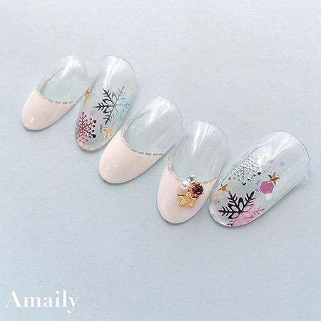 【Amaily】 ネイルシール No.9-6 雪の結晶 ピンク
