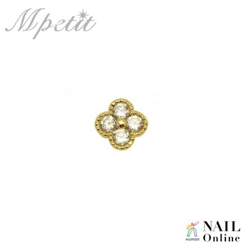 【Mpetit】 A208 カーブシリーズ プチフラワー  ゴールド×クリスタル 1P  6×6mm