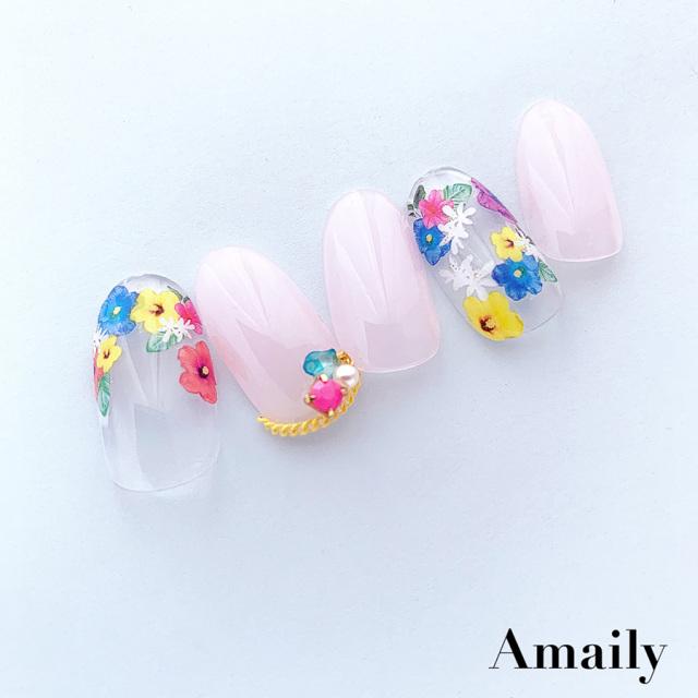 【Amaily】 ネイルシール No.1-6  カラフルお花