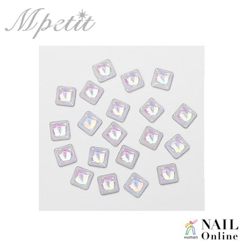 【Mpetit】 B614 シェル風ストーン スクエア ホワイト  20P  4×4mm