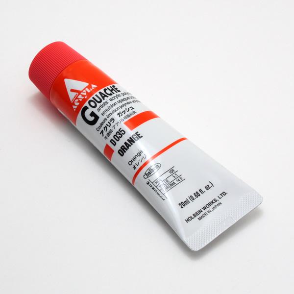 【holbein】 アクリラガッシュ D035 20ml オレンジ