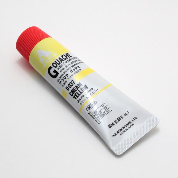 【holbein】 アクリラガッシュ D037 20ml クリームイエロー