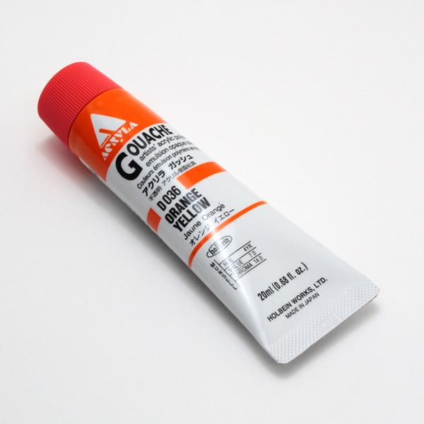 【holbein】 アクリラガッシュ D036 20ml オレンジイエロー