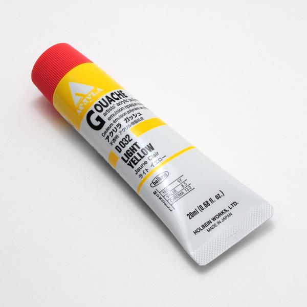 【holbein】 アクリラガッシュ D032 20ml ライトイエロー