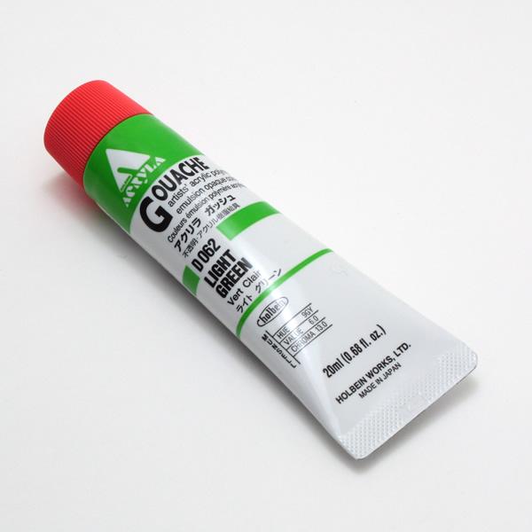 【holbein】 アクリラガッシュ D062 20ml ライトグリーン