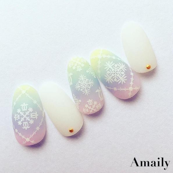 【Amaily】 ネイルシール No.1-12 ハワイアン白