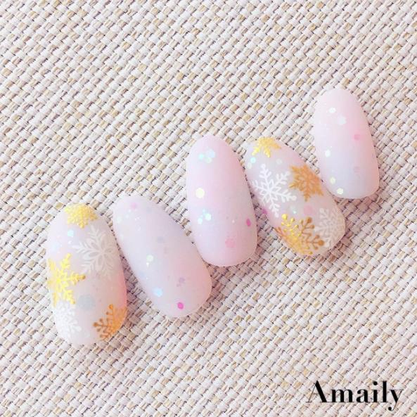 【Amaily】 ネイルシール No.3-16 雪の結晶 ゴールド