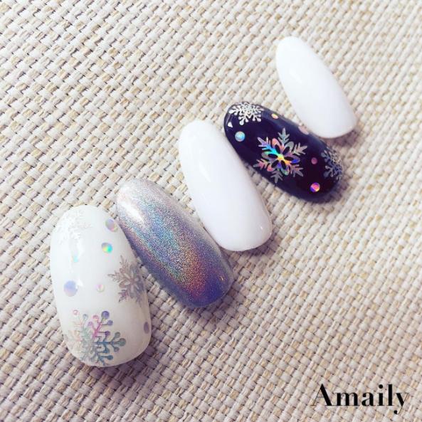 【Amaily】 ネイルシール No.8-9  雪の結晶 オーロラシルバー
