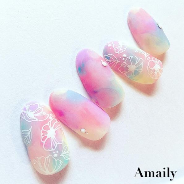 【Amaily】 ネイルシール No.1-14 ポピー 白