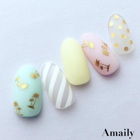 【Amaily】 ネイルシール No.3-19 ヤシの木 ゴールド