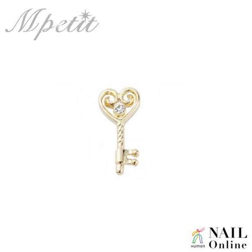 【Mpetit】 A057 ハートキー ゴールド×クリスタル  1P  5×11mm