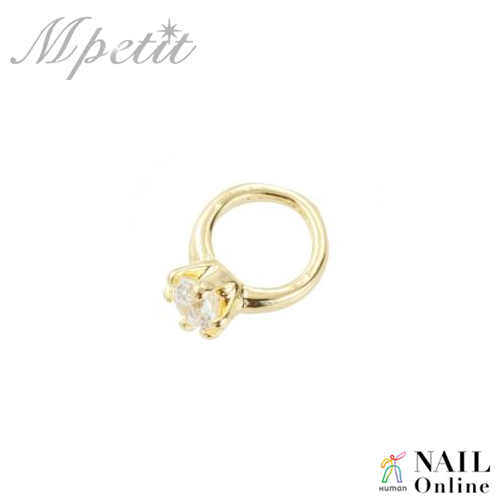 【Mpetit】 A067 プチリング ゴールド×クリスタル 1P  6×8mm