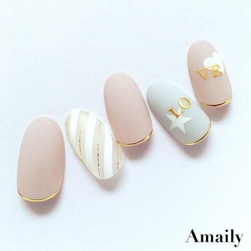 【Amaily】 ネイルシール No.4-8 アルファベットシリーズ大文字 ゴールド