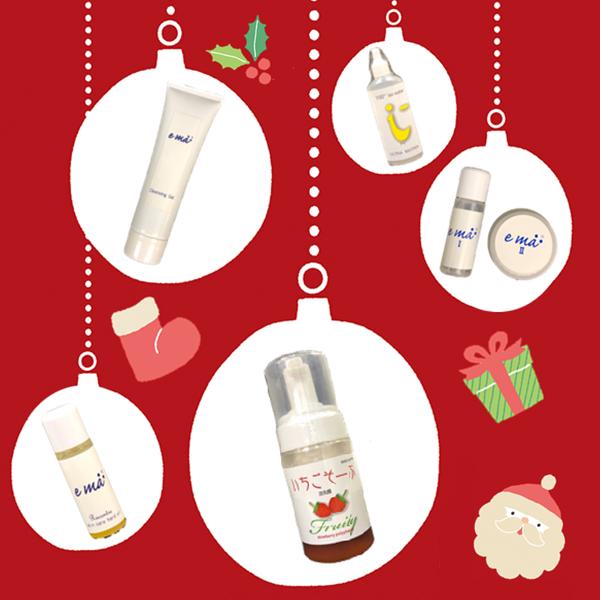 【クリスマスプチギフト】 超保湿の泡洗顔いちごそーぷとスキンケアサンプル5点セット(アイマイナス、エマクレンジング、エマラコントレ、エマ化粧水、エマクリーム)をクリスマスラッピングでお届け