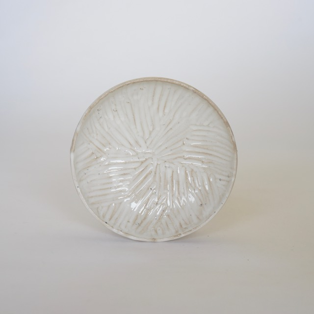 中里花子 粉引削り模様小皿