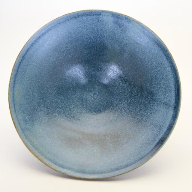 中里花子 ブルーグレー ダブルリップ皿 20cm