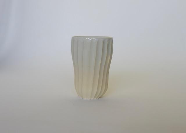 中里花子 ホワイトしのぎカップ【陶器】【ビアマグ】【フリーカップ】【和食器】