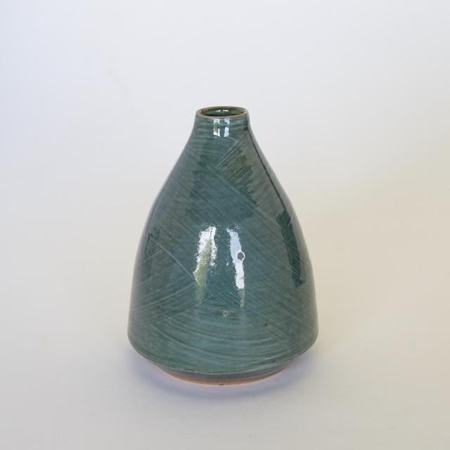 中里花子 緑刷毛目ボトル花入れ 【花瓶】