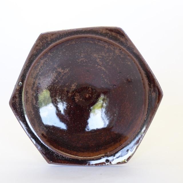 中里花子 飴釉ハニカム皿【ケーキ皿】【取り皿】