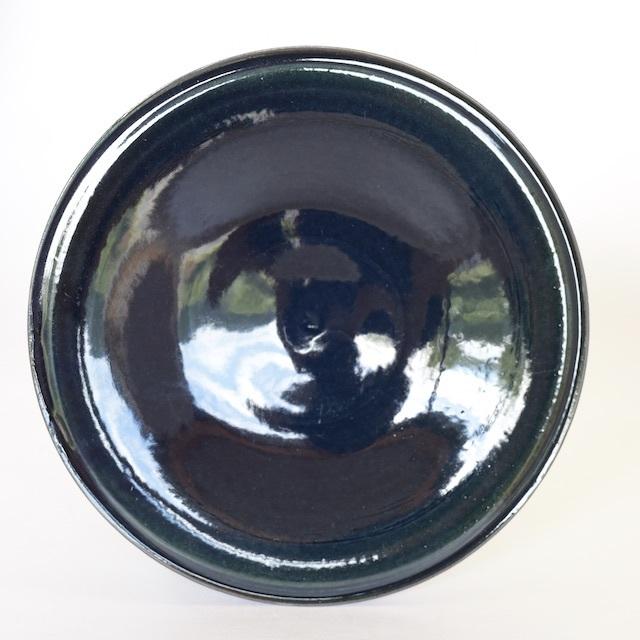 中里花子 ダークブルー ダブルリップ皿 20cm