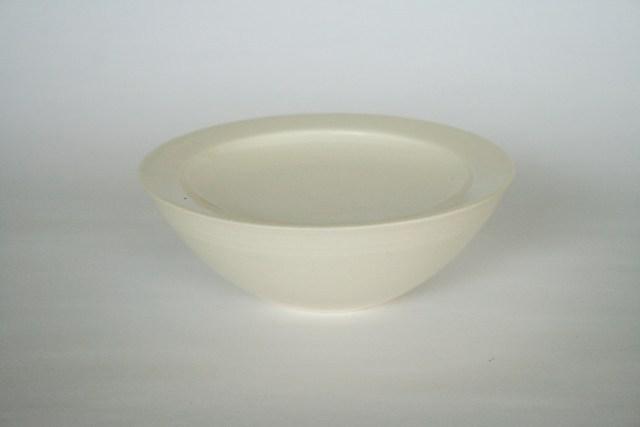 中里花子 ホワイトダブルボウル 径17cm 【台鉢】