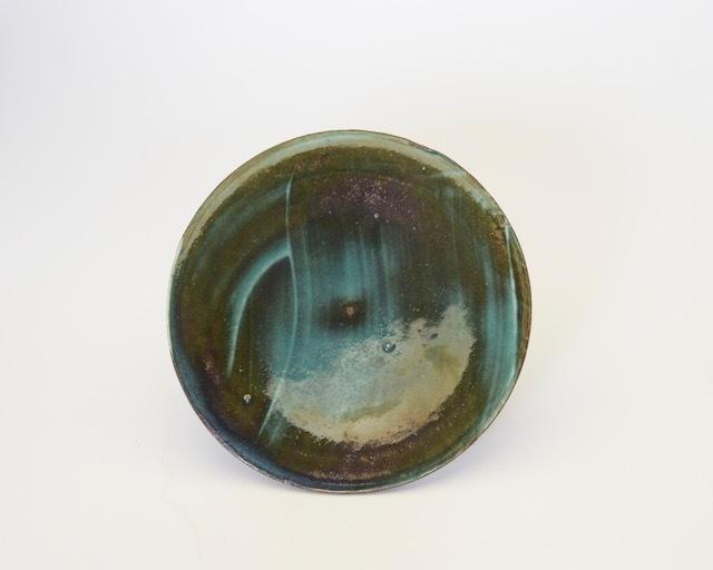 中里花子 緑刷毛目ダブルリップ小皿