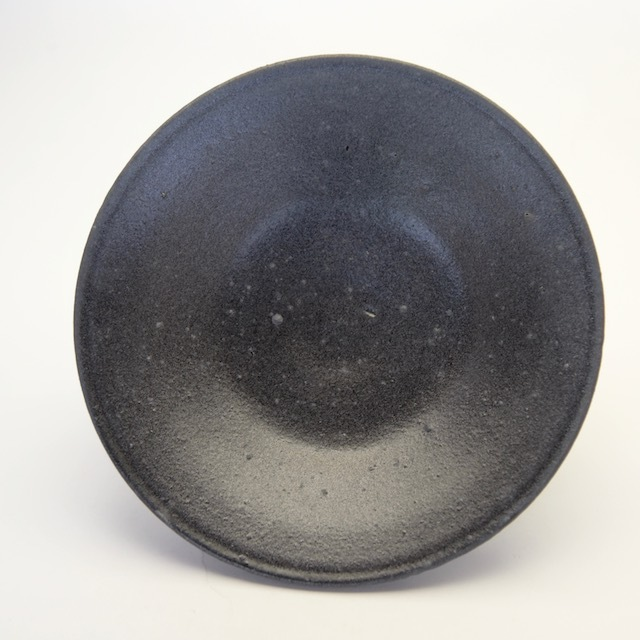 中里花子 黒釉ダブルリップ皿 20cm