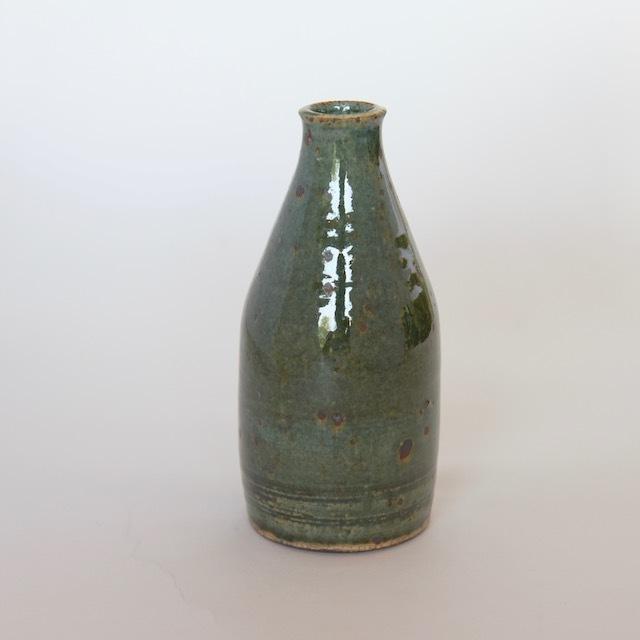 中里花子 緑釉ボトル 花入れ 【花瓶】
