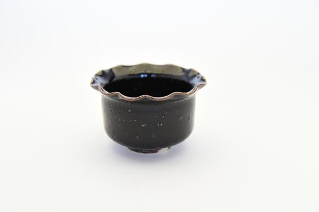 中里隆 黒釉輪花小鉢