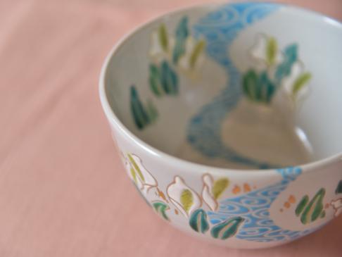 水芭蕉の絵茶碗メイン