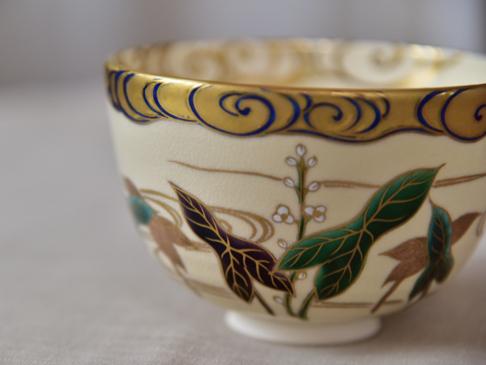色絵金彩水に沢瀉画茶碗メイン