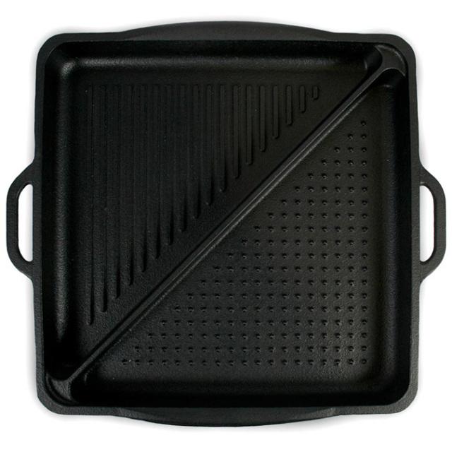 南部鉄器 南部鉄器 グリルパン(焼き肉プレート) 『にこプレート』 内径26cm 直火/ガスコンロ 対応