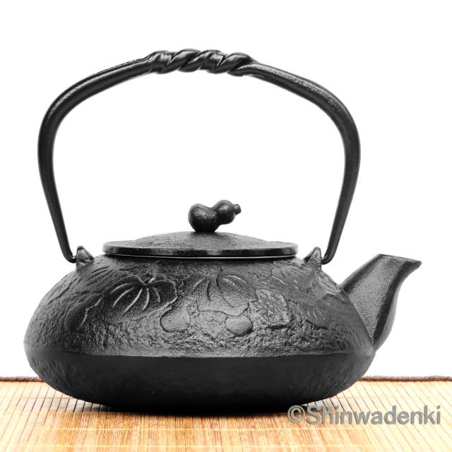 南部鉄器 鉄瓶兼用急須 瓢(黒)