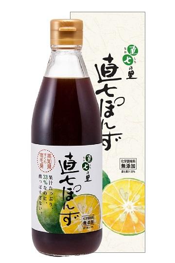 直七果汁たっぷり!まろやかポン酢 【直七ぽんず(360ml)化粧箱入り】